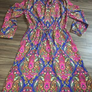 Merona Pink & Blue Paisley Boho Dress